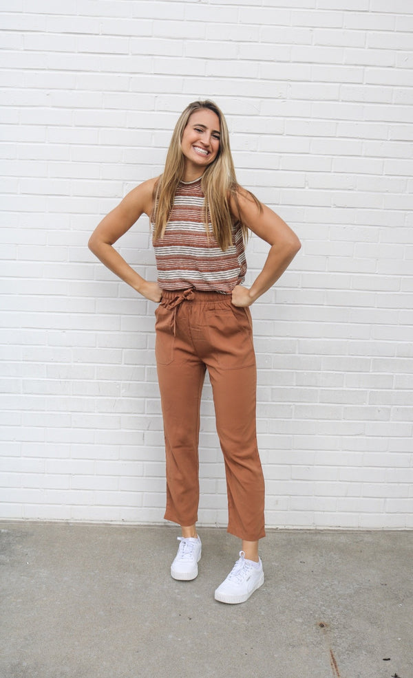 Camel Satin Pants Pants ~