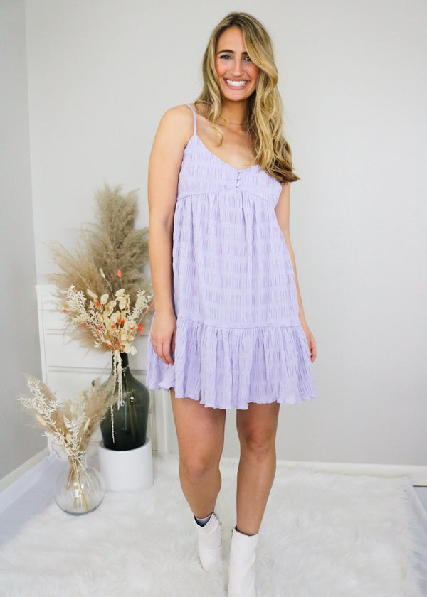 Carly Lavender Gingham Dress Dress Lush