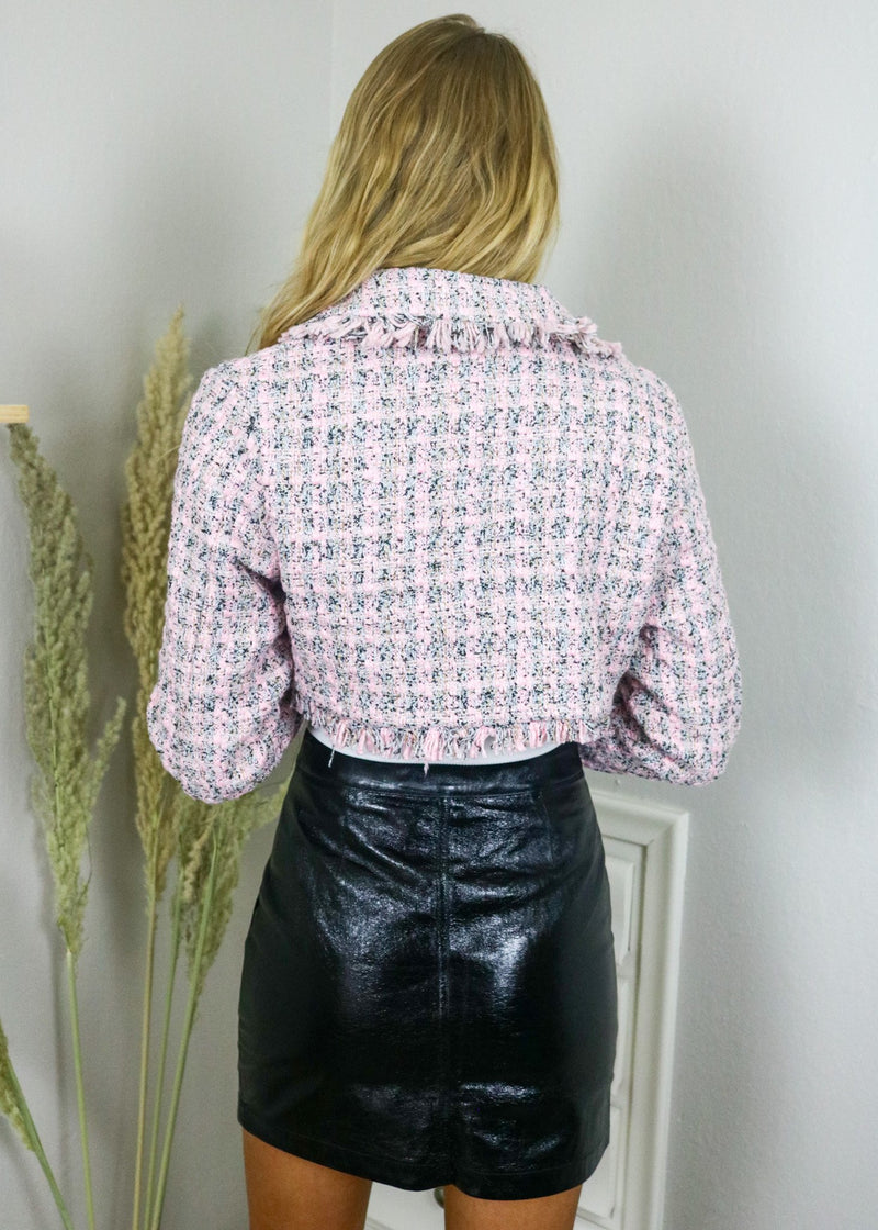 Chanel Pink Tweed Cropped Blazer Outerwear ~