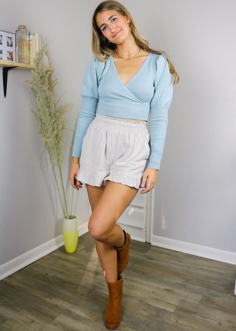 Charolette Cropped Surplice Sweater Top ~