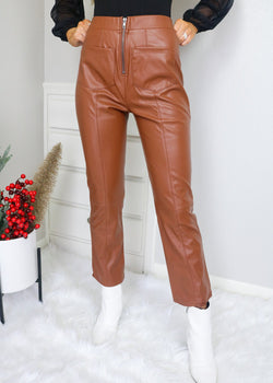 Chestnut Faux Leather Pants Bottoms Very J