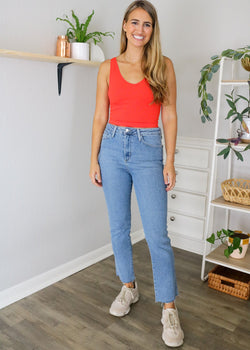Classic Straight High Waisted Jeans • Just Black Denim Jeans Just Black Denim