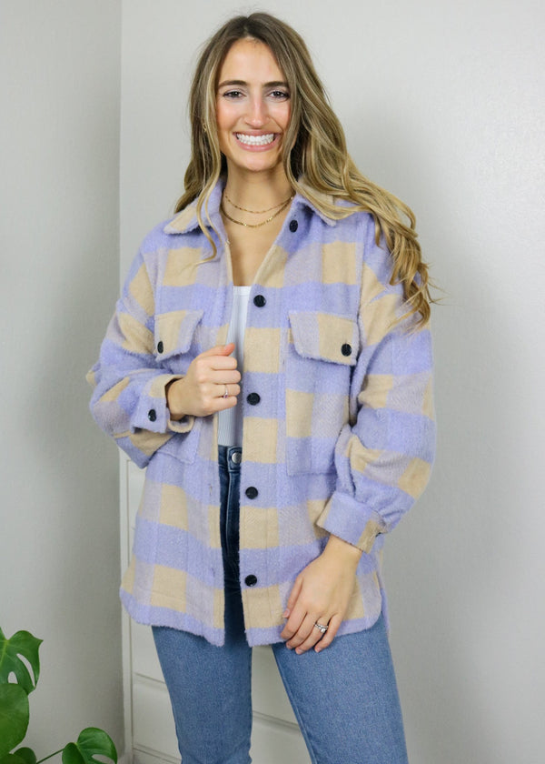 Cobbler Purple Plaid Shacket Top May Blue