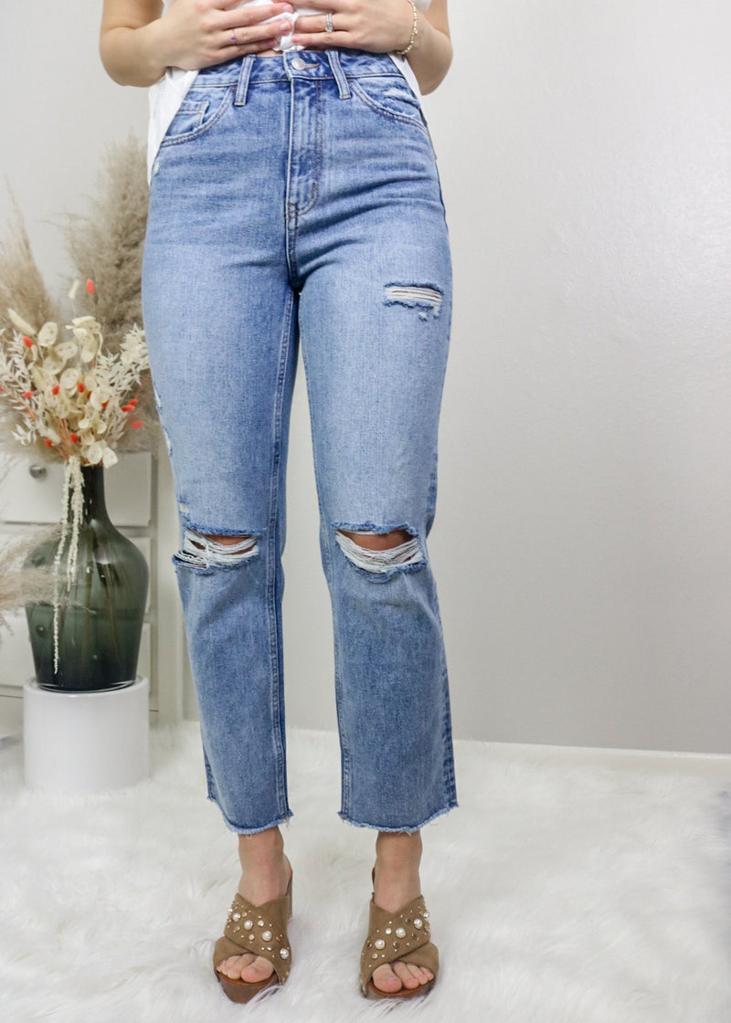 Coffee Date Distressed Straight Jeans Bottoms Flying Monkey
