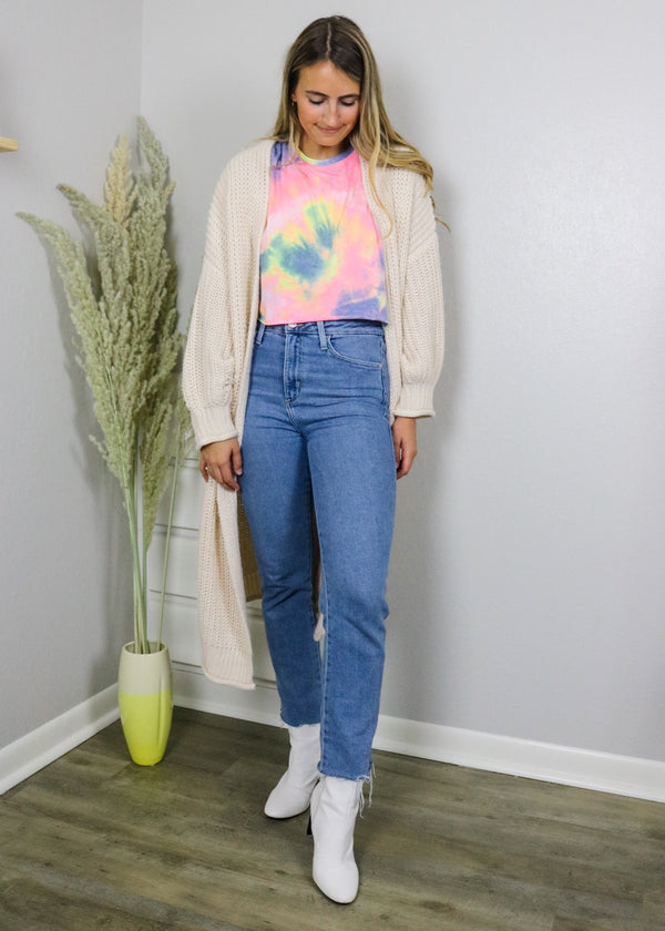 Cotton Candy Tie-Dye Cropped Tee Top ~