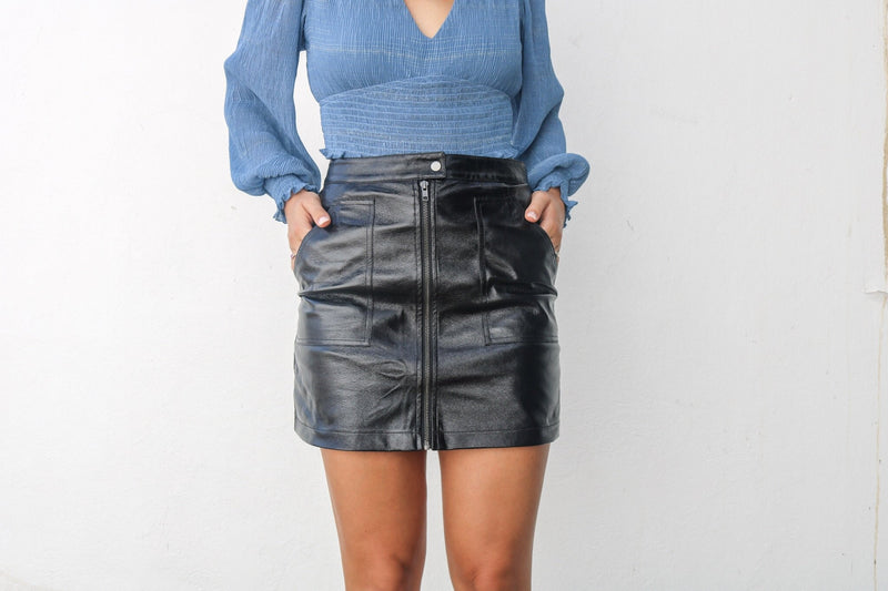 Coyote Zipper Leather Skirt Bottoms MINKPINK