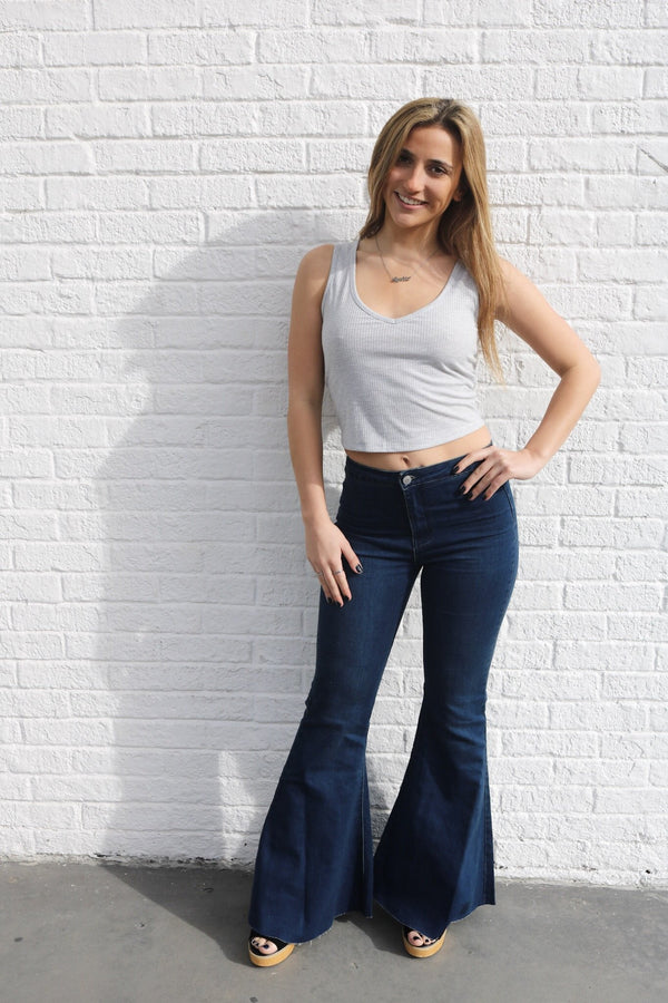 Dark Denim Bell Bottoms Jeans ~