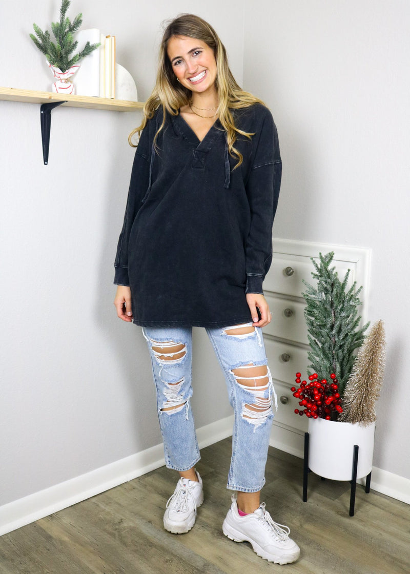Day To Day Longline Pullover - Black Top Mono B