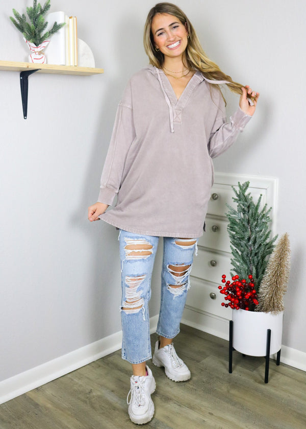 Day To Day Longline Pullover - Dusty Pink Top Mono B