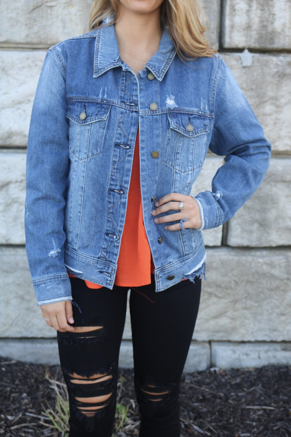 Denim Boyfriend Jacket Jacket Just Black Denim