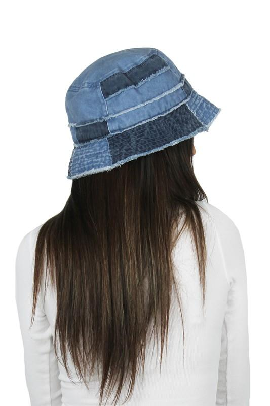 Denim Patchwork Bucket Hat Accessory David and Young