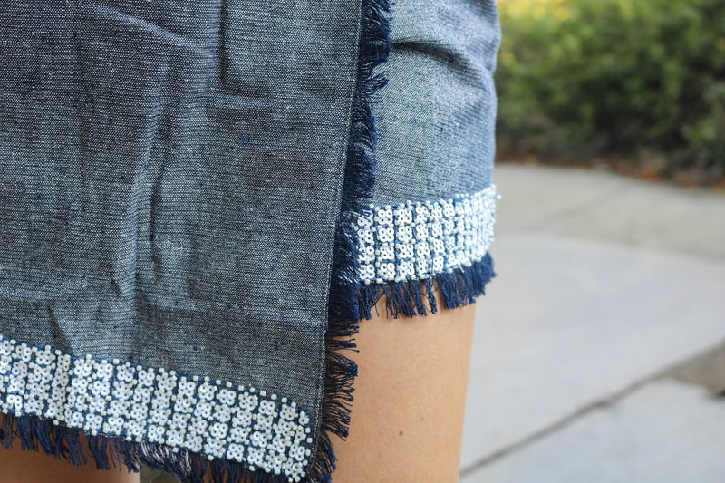 Denim Sequin Skort Skort ~