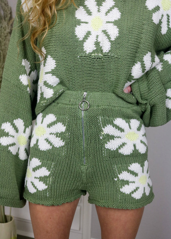 Disco Daisy Sweater Shorts Bottoms ~