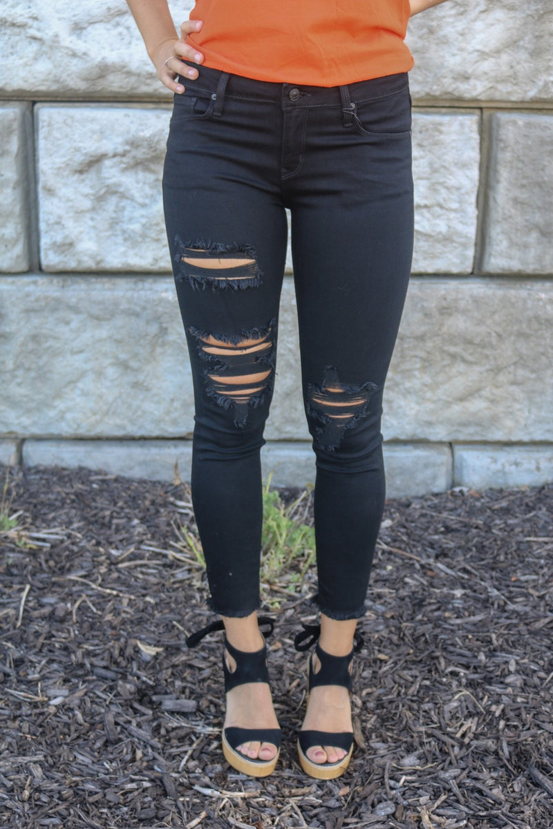 Distressed Black Skinnies Bottoms Just Black Denim