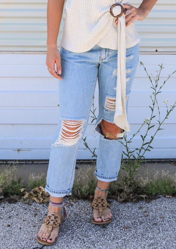Distressed Boyfriend Cropped Jeans Jeans ~
