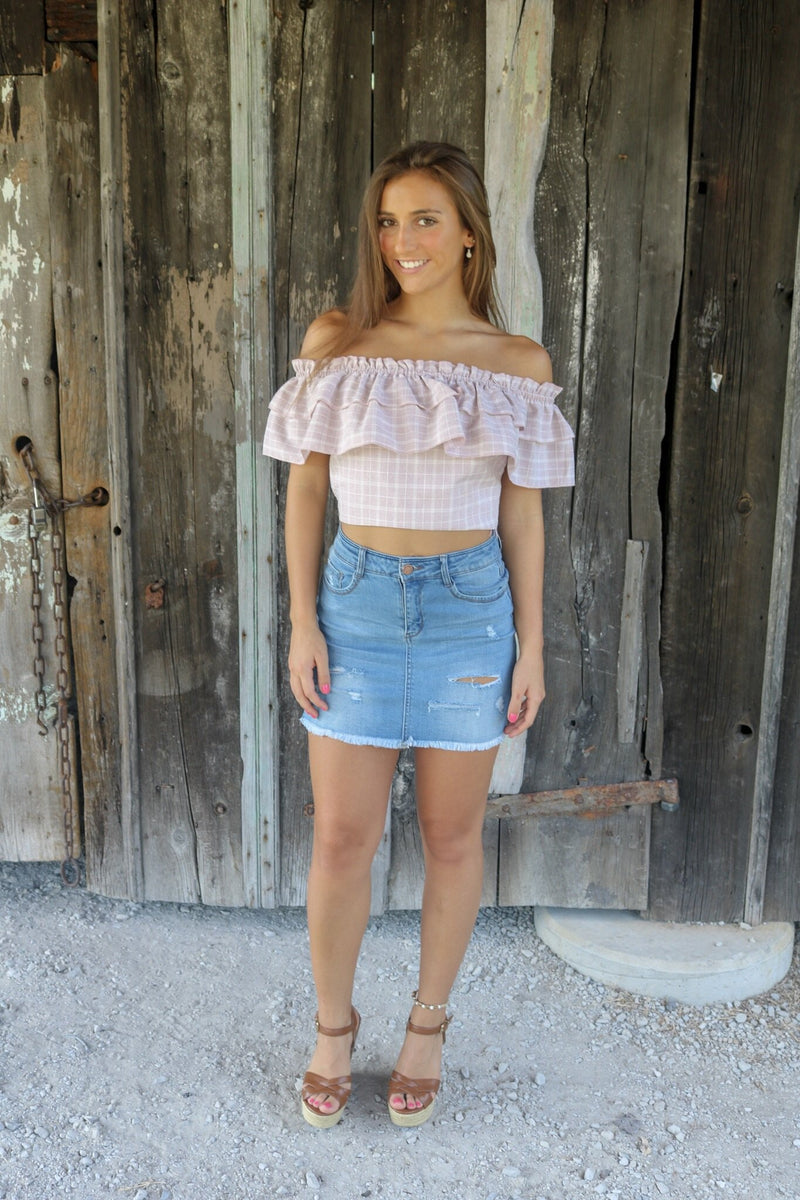 Distressed Denim Skirt Skirt ~