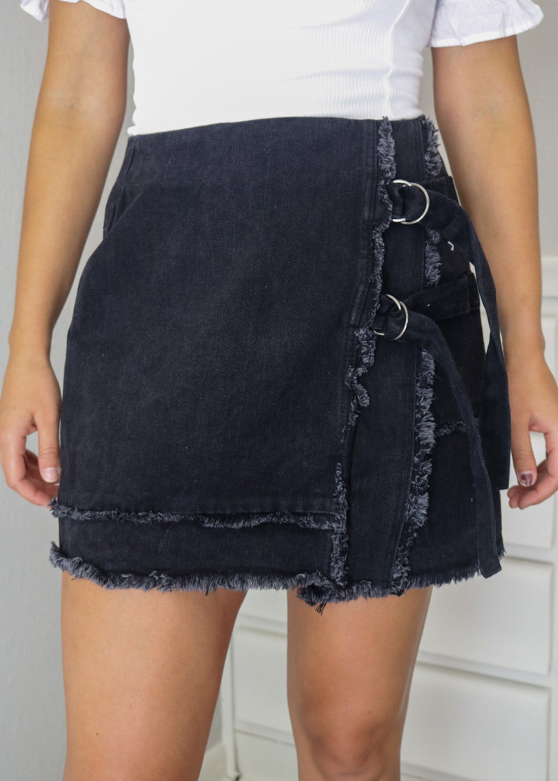 Emory Frayed Black Denim Skirt Skirt ~