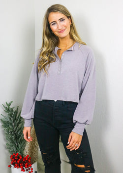 Espresso Shot Henley Top Top Blue Blush