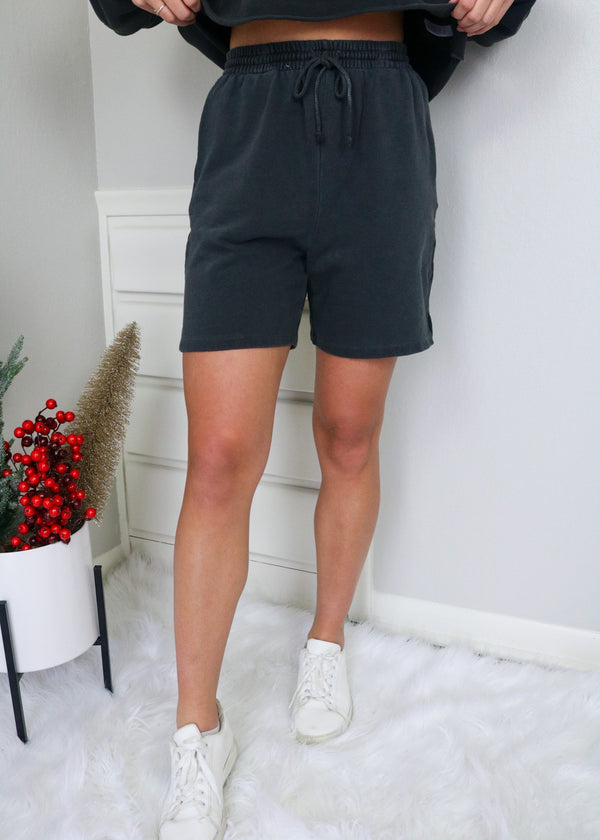 Everly Charcoal Sweat Shorts Shorts Emory Park