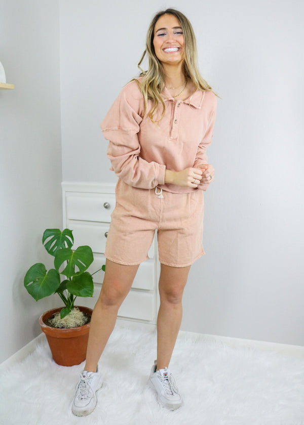Everly Peach Collared Varsity Top Top Emory Park