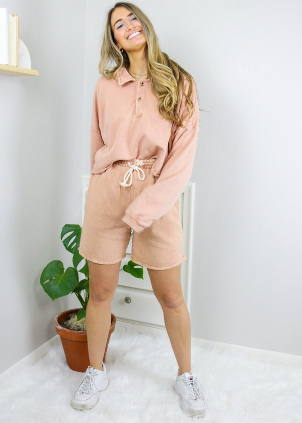 Everly Peach Sweat Shorts Bottoms Emory Park
