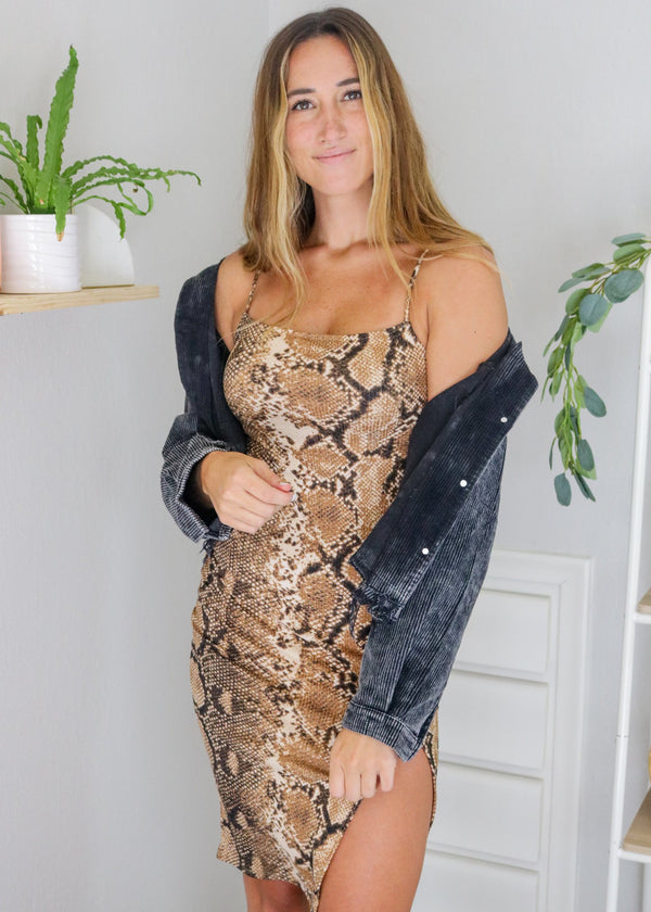 Fallin' For You Snake Print Midi Dress Dress Bolt Boutique