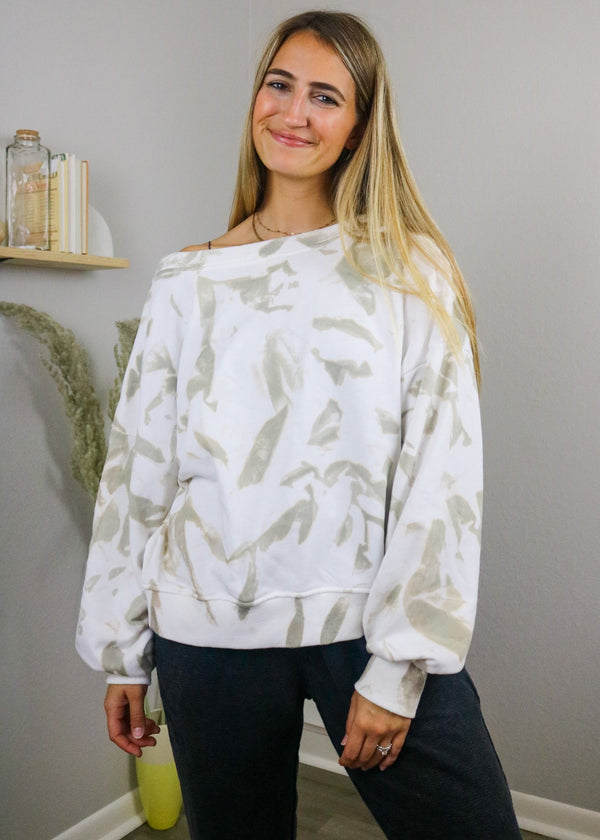 Foggy Taupe Tie-Dye Reversible Pullover Pullover ~