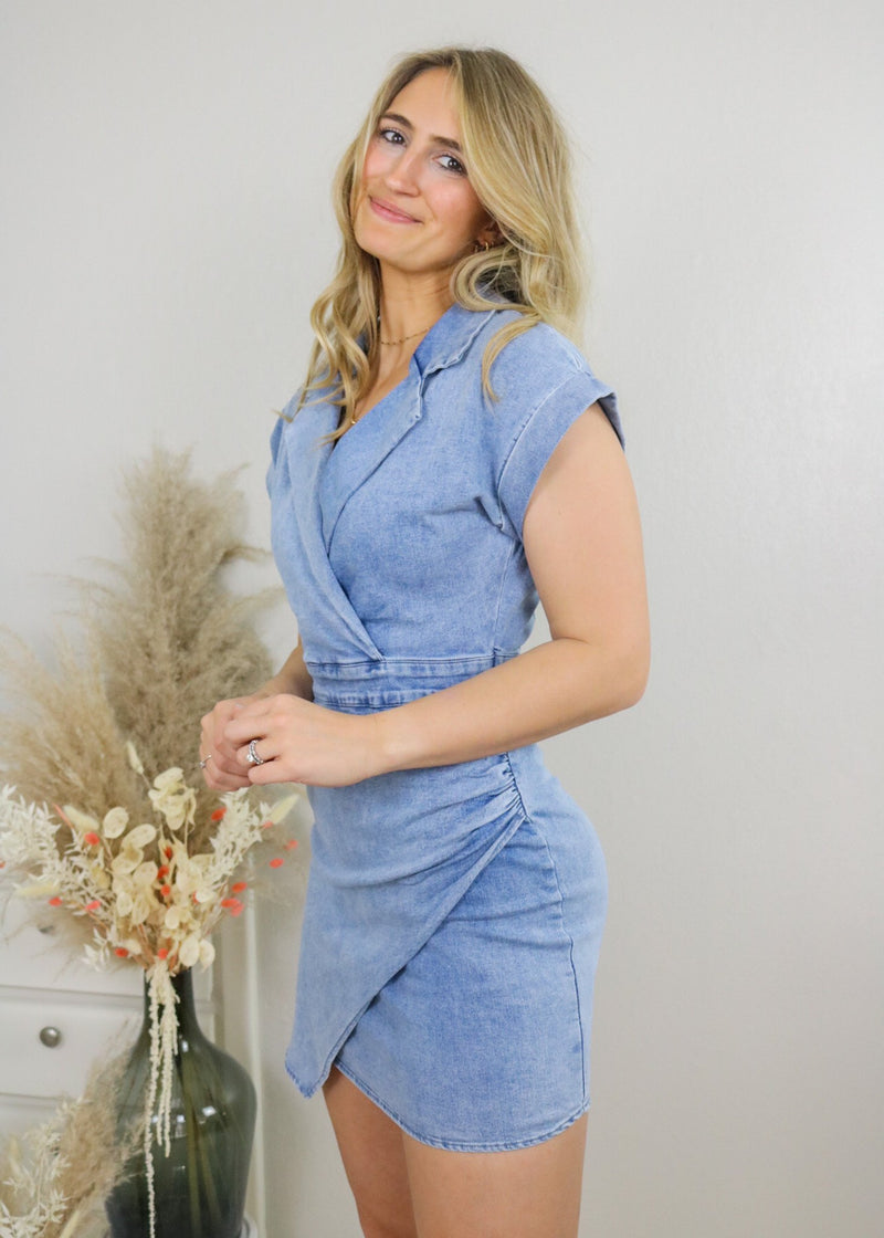 Girl Boss Blue Denim Dress Dress Blue Blush
