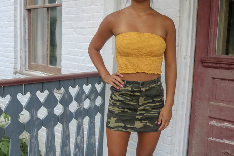 Gold Smocked Tube Top Tops ~