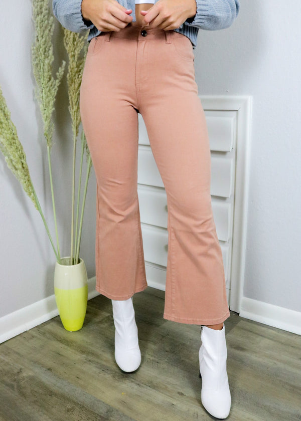 Golden Hour Peach Flare Pants Bottoms ~