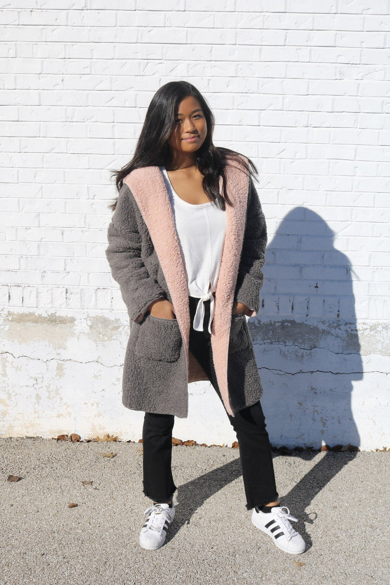 Grey + Blush Teddy Cardigan Cardigan ~