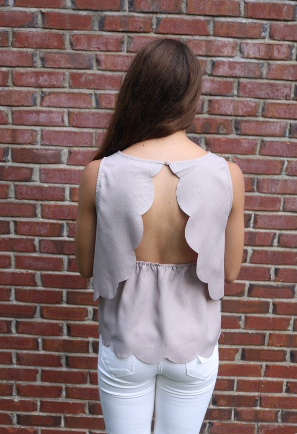 Grey Scalloped Top Tops ~