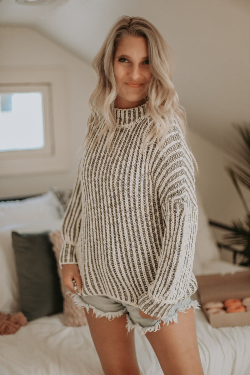 Grey Two Tone Knit Sweater Top ~