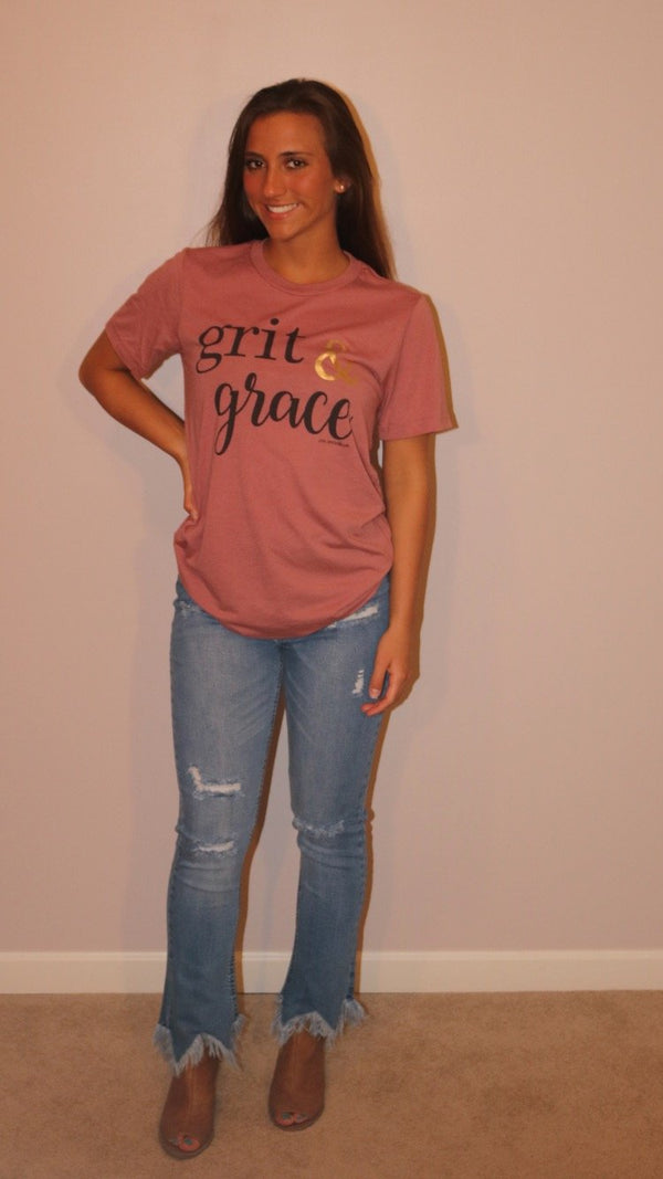 Grit & Grace Graphic Crew Neck Tops ~