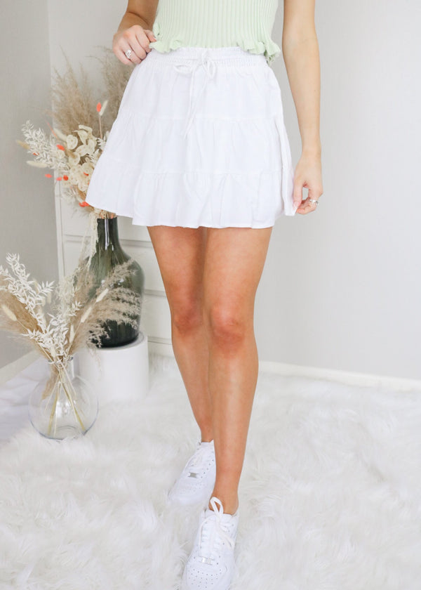 Holly White Tiered Skirt Skirt Le Lis