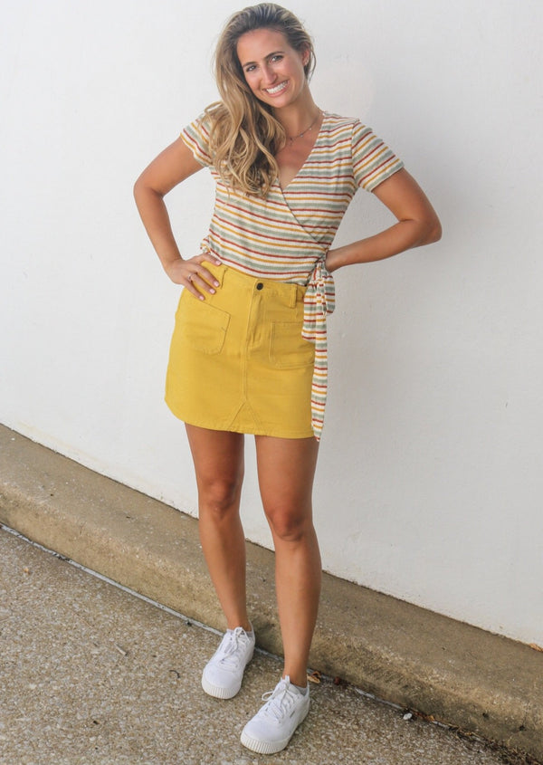 Honey Denim Skirt Bottoms Sadie & Sage yellow denim skirt