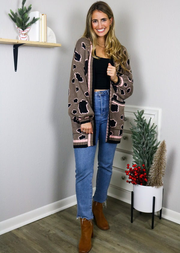 Hot Cocoa Leopard Sweater Cardigan Cardigan Blue Blush