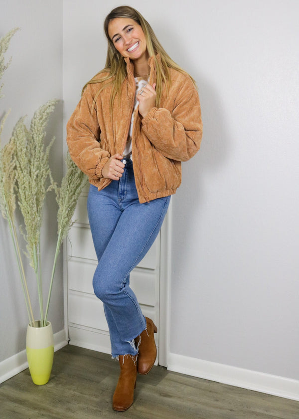 It Girl Corduroy Bomber Jacket - Camel Outerwear ~
