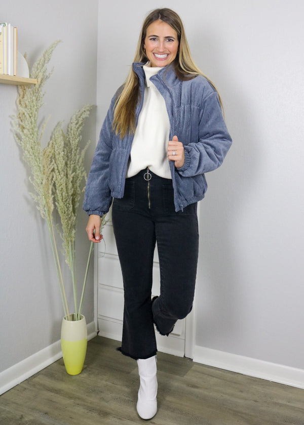 It Girl Corduroy Bomber Jacket - Charcoal Outerwear ~