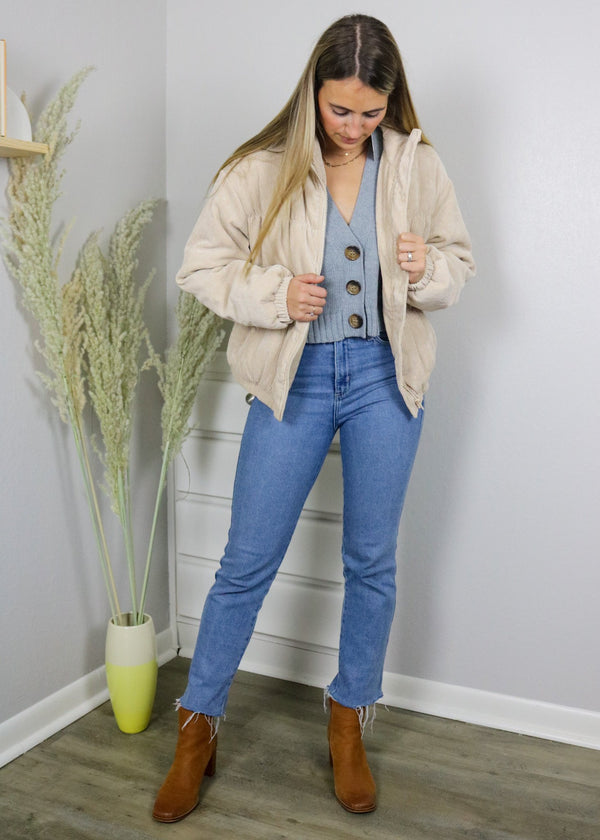 It Girl Corduroy Bomber Jacket - Sand Outerwear ~