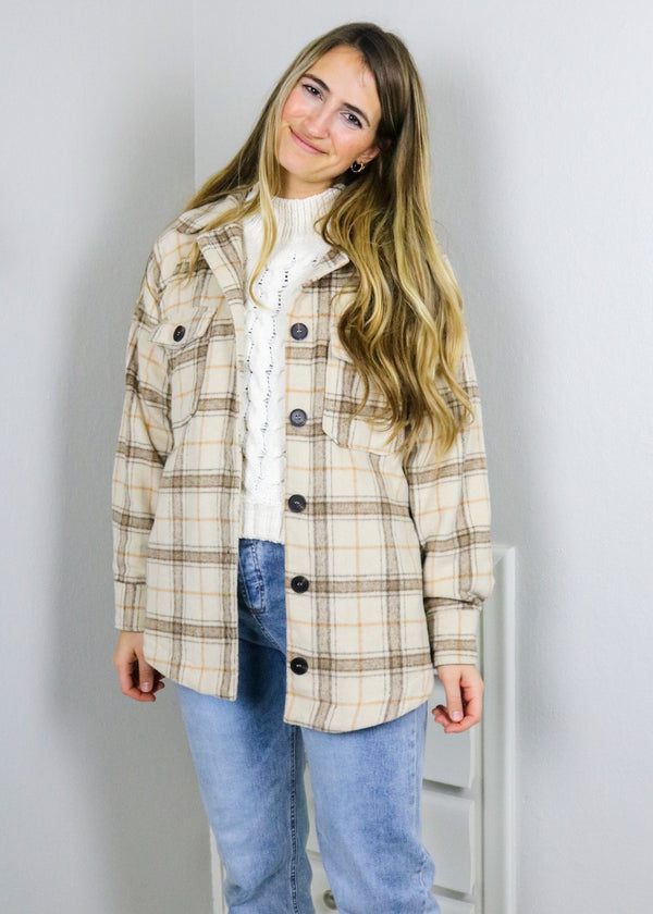 Jessica Neutral Plaid Oversized Shacket Jacket Very J