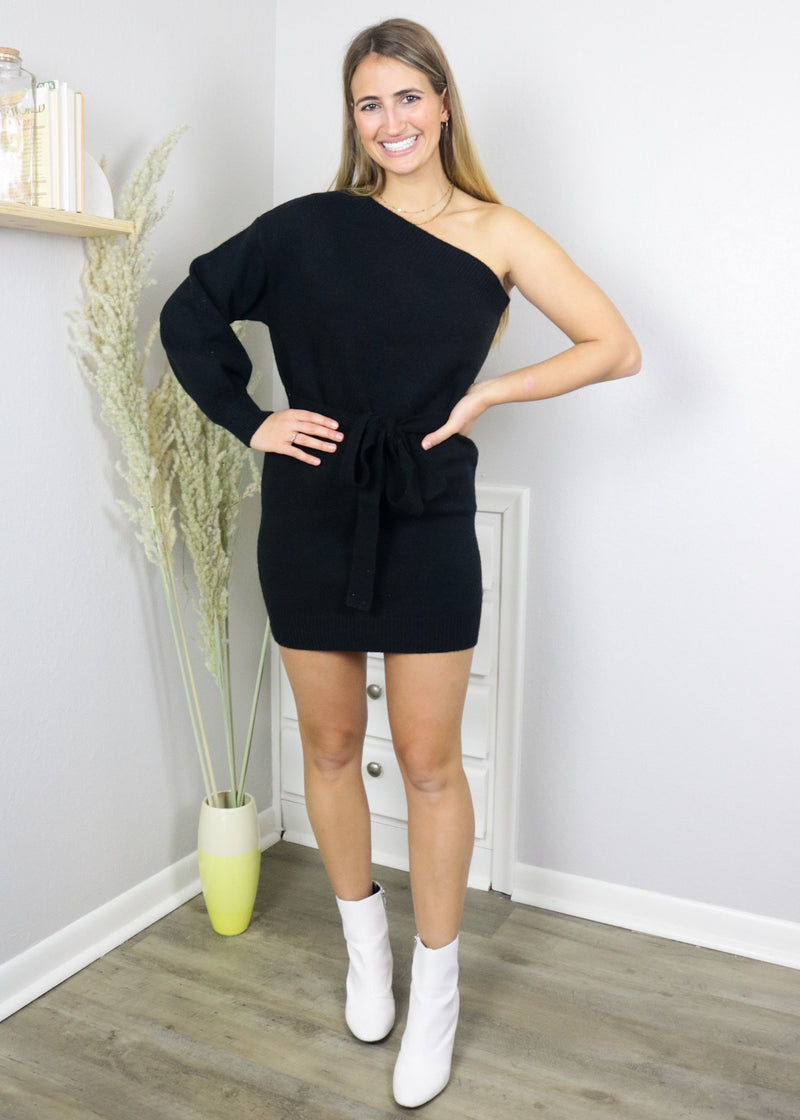 Kennedy Black One Shoulder Sweater Dress Dress ~