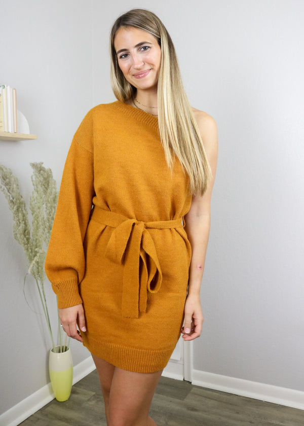 Kennedy One Shoulder Sweater Dress Dress ~
