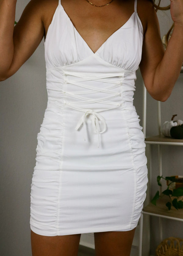 Kenzie White Ruched Dress Dress ~