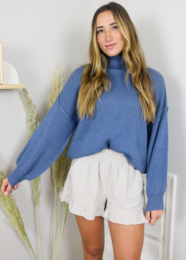 Kristin Denim Blue Turtleneck Sweater Top ~