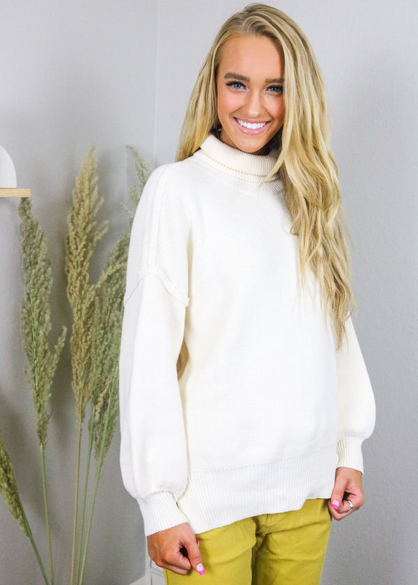 Kristin Ivory Turtleneck Sweater Top ~