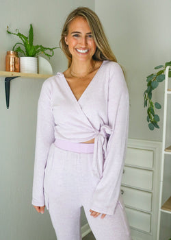 Lilac Lounge Wrap Top Set ~