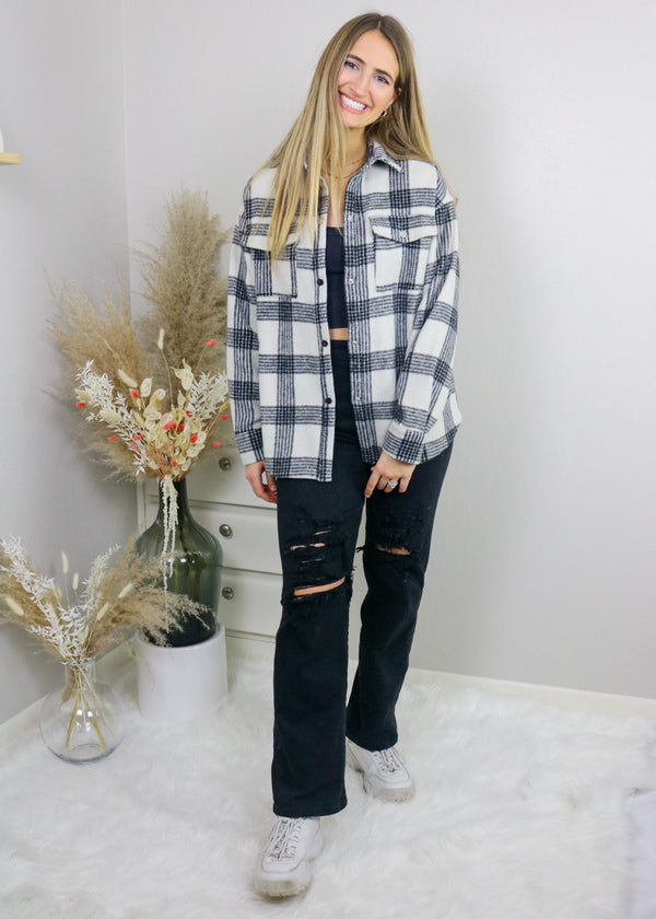 Lindsey Black And White Plaid Shacket Outerwear Bailey Rose