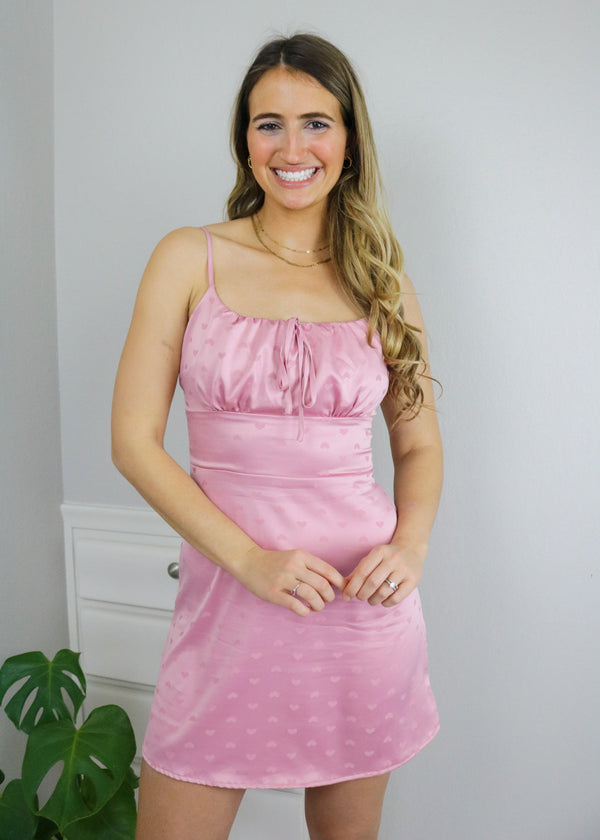 Lovestruck Pink Heart Satin Dress Dress Le Lis