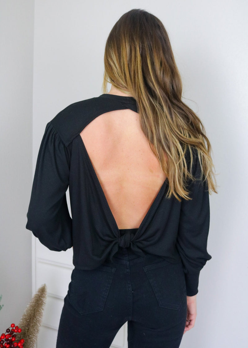 Maggie Black Back Tie Detail Top Tops Blue Blush